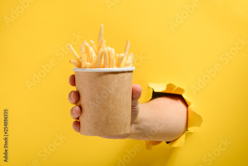 Hand giving French fries Wallpaper Mural