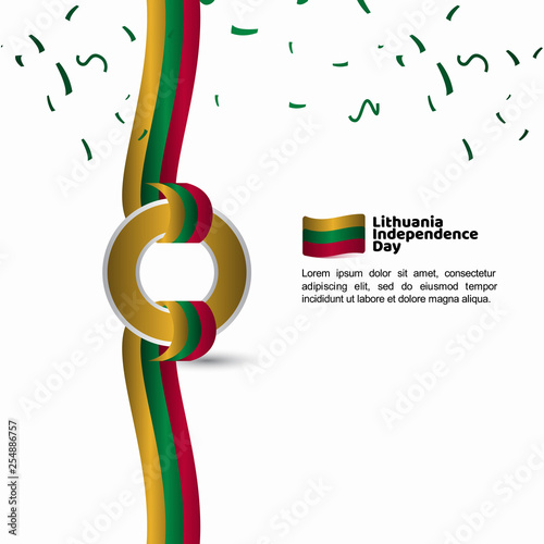 Fototapeta Lithuania Independence Day Flag Vector Template Design Illustration obraz na płótnie