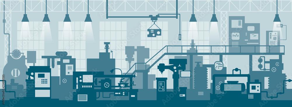 Fototapeta Creative vector illustration of factory line manufacturing industrial plant scen interior background.