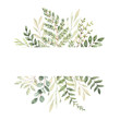 canvas print picture - Hand drawn watercolor illustration. Botanical frame with eucalyptus, branches, fern and leaves. Greenery. Floral Design elements. Perfect for wedding invitations, cards, prints, posters, packing