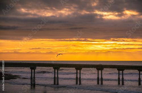 Sunset at Ocean Beach pier in San Diego