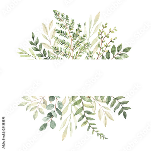 Hand drawn watercolor illustration. Botanical frame with eucalyptus, branches, fern and leaves. Greenery. Floral Design elements. Perfect for wedding invitations, cards, prints, posters, packing Wall mural