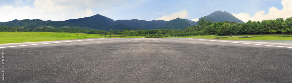 Fototapeta Empty asphalt road and mountain nature landscape