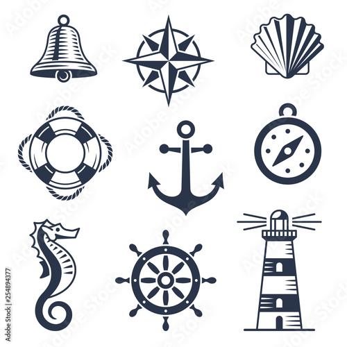 Set of marine nautical icons Fototapete