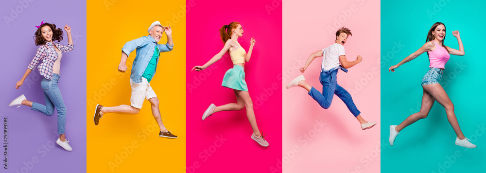 Fototapety, obrazy: Full size body length view portrait of cheerful cheery glad dreamy sporty people in a striped T-shirt overalls activity lifestyle dream isolated on different color bright vivid shine background
