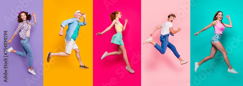 Full size body length view portrait of cheerful cheery glad dreamy sporty people in a striped T-shirt overalls activity lifestyle dream isolated on different color bright vivid shine background