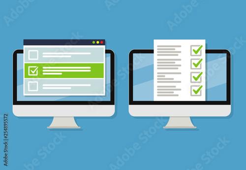Obraz Online form survey on laptop. Vector illustration. Flat style design - fototapety do salonu