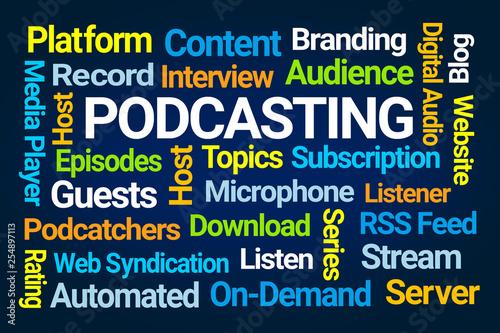 Fotografie, Tablou Podcasting Word Cloud