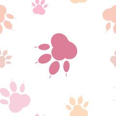 Wzór łapy, bezszwowe wektor wzór sylwetki łapy, kocie nogi, ślad psa. Pastelowy różowy na przezroczystym tle tła. Nago, w kolorze ciała bez szwu wektor wzór bez tła
