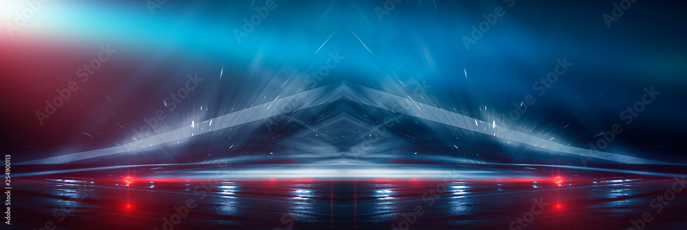 Fototapety, obrazy: Background wall with neon lines and rays. Background of an empty dark corridor, parking, airport with neon light. Abstract background with lines and glow. Wet asphalt, the reflection of neon lights in