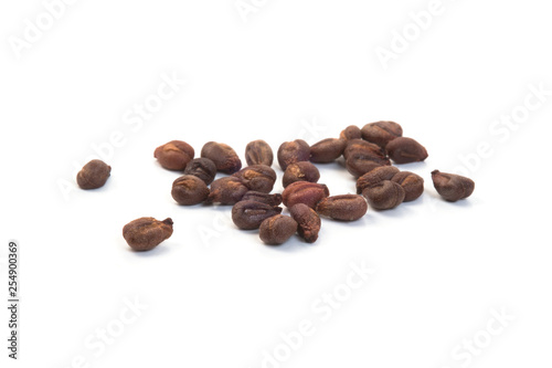Deurstickers koffiebar Stack of dried grape seeds isolated on white background