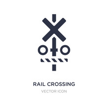 Rail Crossing Icon On White Ba...