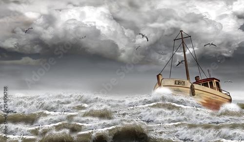 Fotografia, Obraz  Fischkutter bei stürmischer See