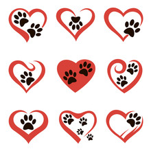 Collection Of Dog Or Cat Footprints In Abstract Red Heart Isolated On White Background