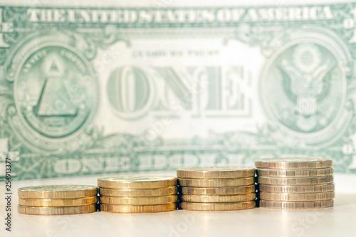 Fotografia, Obraz  coins close-up steps up