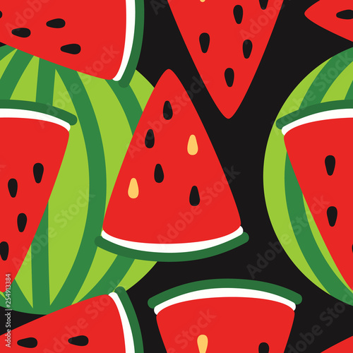 Foto op Canvas Draw Fresh fruits, hand drawn backdrop. Colorful wallpaper vector. Seamless pattern with ripe watermelons. Decorative illustration, good for printing. Overlapping background design