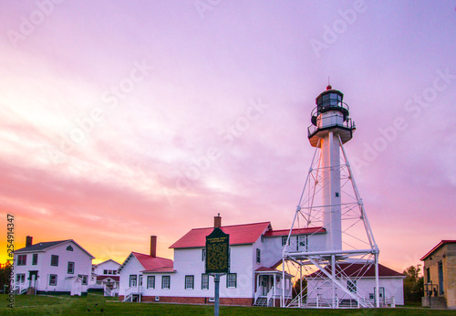 Foto op Plexiglas Purper Whitefish Point Lighthouse On Lake Superior In Michigan
