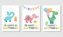 Birthday Card Set With Cute Di...