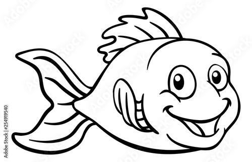 A friendly cartoon goldfish or gold fish character Canvas Print