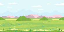 Green Grass Field With Bushes, Ground With Stones Near The Bushes, Nature Game Background In Simple Colors And Flat Style, Tileable Horizontally