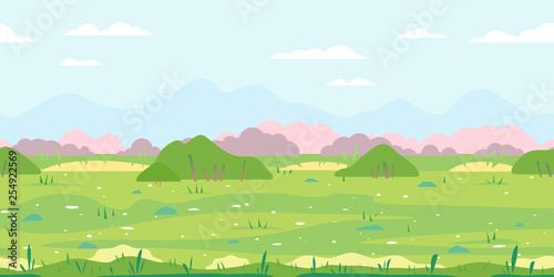 Aluminium Prints River, lake Green grass field with bushes, ground with stones near the bushes, nature game background in simple colors and flat style, tileable horizontally