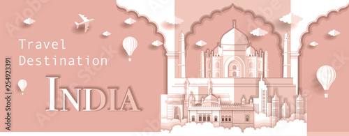 Fotografie, Obraz  Panorama paper art style vector of Taj Mahal and Famous Landmarks India for Trav