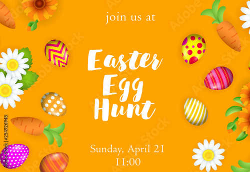 Easter egg hunt lettering with painted eggs and flowers Wallpaper Mural
