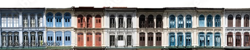 Upper floors of colonial heritage houses in Singapore isolated on white Wallpaper Mural