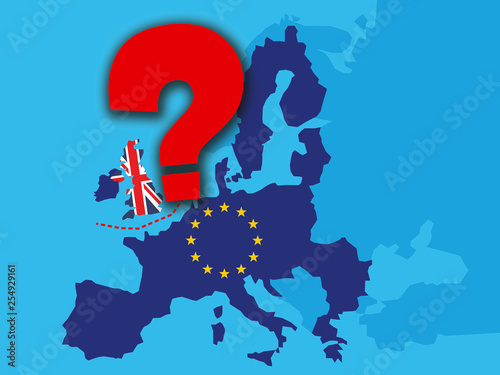 Big Map Of England.Brexit Concept Uk Economy After Brexit With A Big Red Question