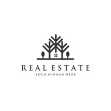 Real Estate With Trees Logo