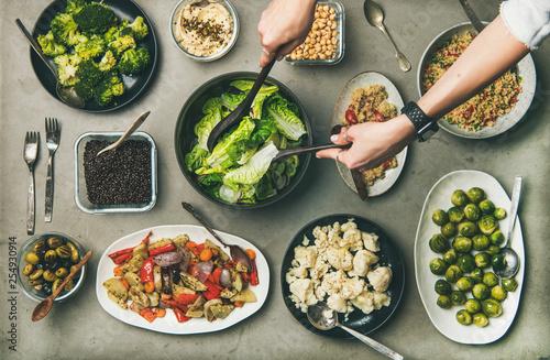 Photo  Vegan dinner table setting