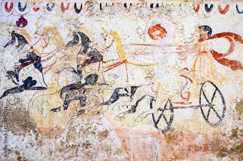 Fotografie, Obraz  ancient fresco of a war chariot of the Magna Graecia