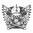 Hand drawn illustration of a biker skull, motorcycle engine, wrenches and wings. Isolated on white background.