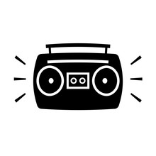 Boombox Ghetto Blaster Cartoon Silhouette Icon. Clipart Image Isolated On White Background