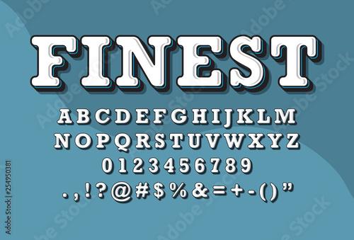 Fototapeta  Alphabet font with custom 3D vintage style