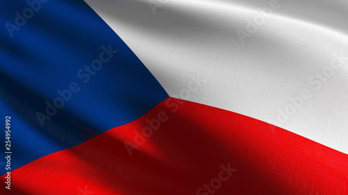 Photo  Czech Republic national flag blowing in the wind isolated
