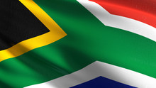 South Africa National Flag Blowing In The Wind Isolated. Official Patriotic Abstract Design. 3D Rendering Illustration Of Waving Sign Symbol.