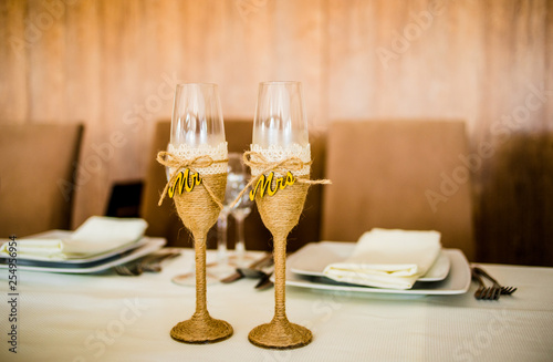 Two wedding glasses in the style of the rustic Wallpaper Mural