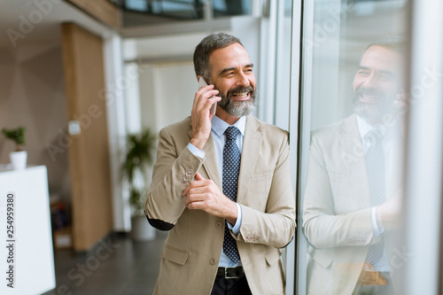 fototapeta na drzwi i meble Handsome mature businessman with mobile phone in the office