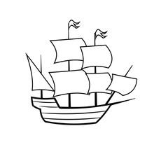 Mayflower Ship Outline Icon. C...