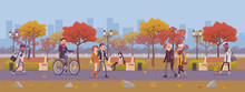 Fall Season Park Zone With People. Large Public Garden In Autumn, Land Area With Yellow Grass And Trees For Fun And Recreation, Happy Citizens Enjoy Open Air Activities And Walk. Vector Illustration