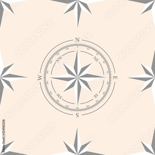 Fotografía  Seamless pattern with compas and roses of winds for your design