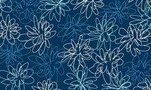 Hand Drawn Vector Spring Floral Doodle Blue Background