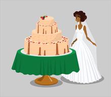 Bride Near Pink Wedding Cake Vector Illustration