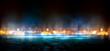 Wet asphalt, reflection of neon lights, a searchlight, smoke. Abstract street with smoke, smog. Night background, night city Abstract bokeh light, night bokeh.