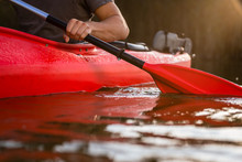 Close-up Of A Man Rowing In Kayak