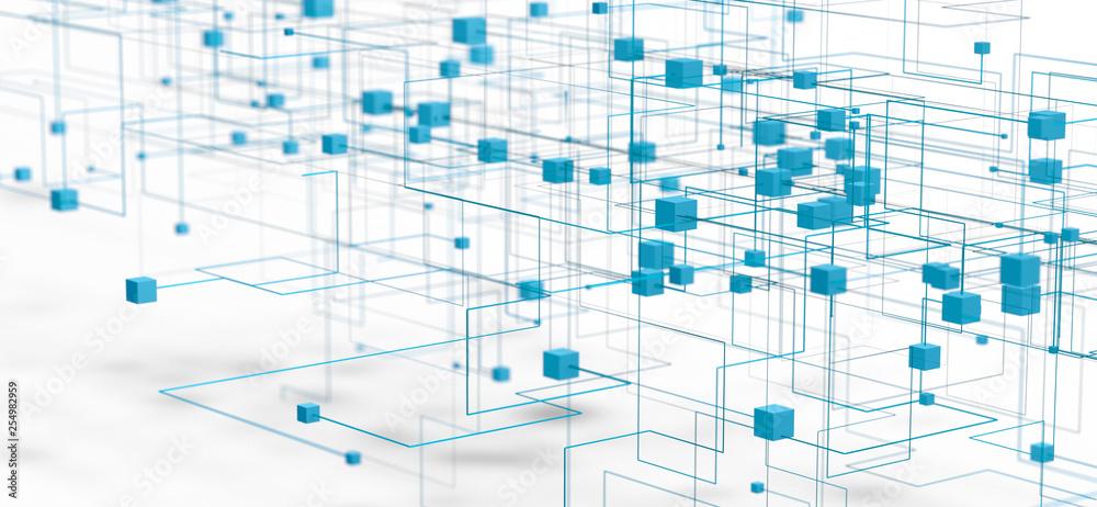 Fototapety, obrazy: Datos en la nube y red.Concepto de ciencia y tecnología.Malla y formas geométricas