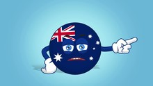Cartoon Icon Flag Australia Unhappy Right Pointer With Face Animation With Alpha Matte