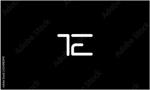 Photo  T, E, T E, E T, Letter Creative Minimal Abstract Unique Luxury Style Premium Graphic Alphabet Icon Vector Logo Design Template Element in white color with black background