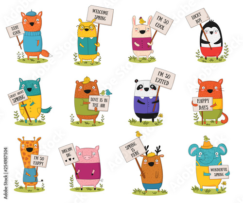 Spoed Fotobehang Illustraties Vector collection with cartoon funny animals with a transparency
